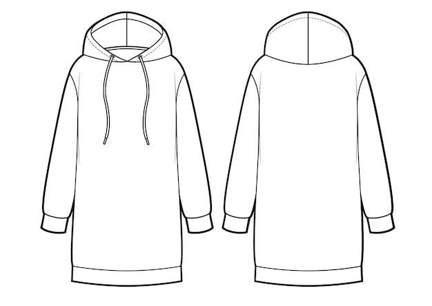 Hoodie sweatshirt vrouw jurk vector illustratie voor- en achterkant weergaven