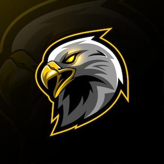 Hoofd adelaar mascotte logo e-sport ontwerp