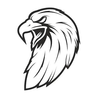 Hoofd adelaar vintage stijl geïsoleerd op wit