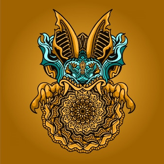 Hoofd bat mandala ornament illustratie