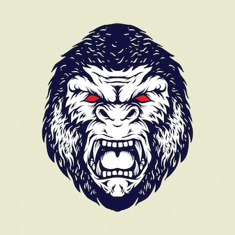Hoofd boze gorilla geïsoleerde illustraties