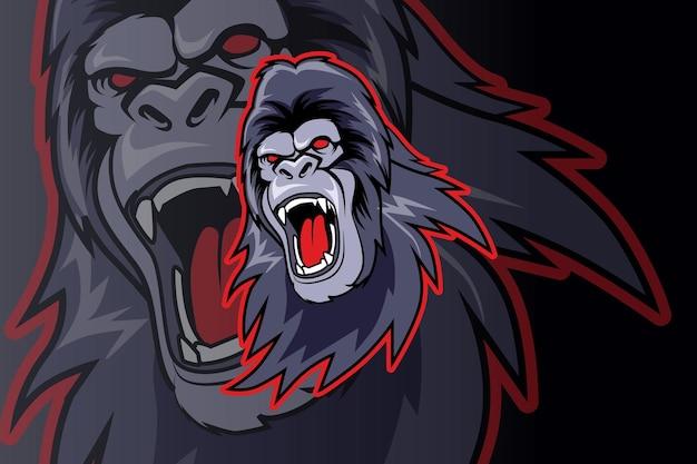 Hoofd brullende gorilla-mascotte voor sport en e-sport