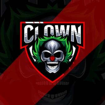 Hoofd clown mascotte logo esport sjabloon