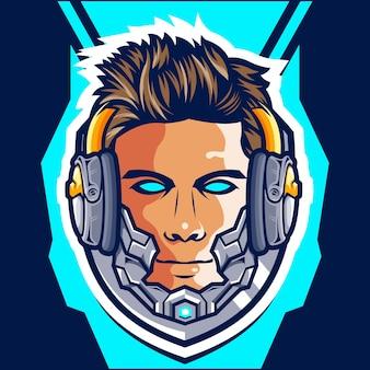 Hoofd cyborg gamer esport-logo