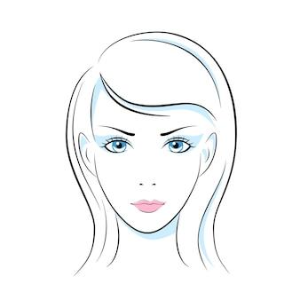 Hoofd de illustratiewaarde van het meisje, oor, de hals van haarlippen