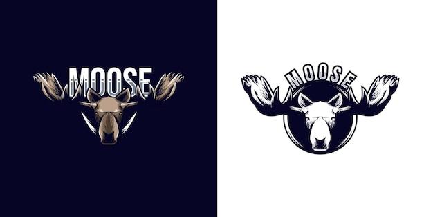 Hoofd eland klassiek logo ontwerpsjabloon