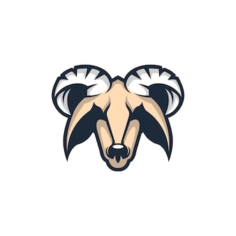 Hoofd geit mascotte logo