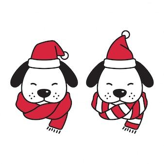 Hoofd hond santa claus