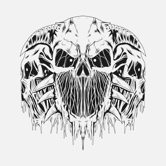 Hoofd hoofd schedels illustratie