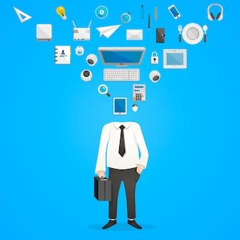 Hoofd iconen bureau. vectorillustratie