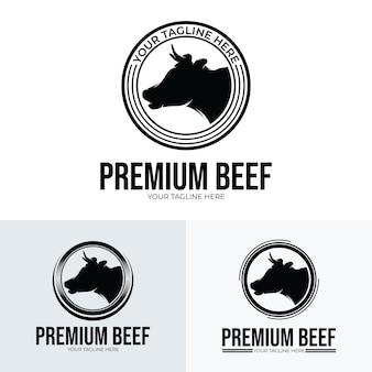 Hoofd koe - premium rundvlees logo ontwerp inspiratie