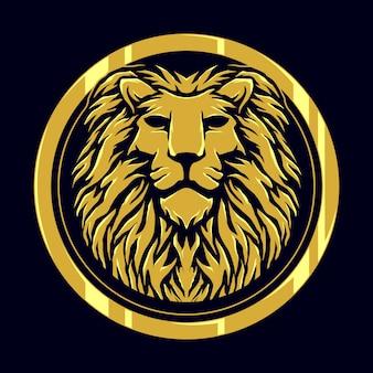 Hoofd leeuw gouden logo