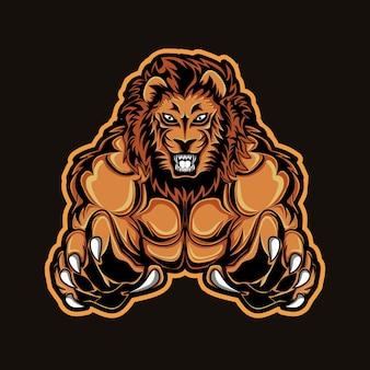 Hoofd leeuw mascotte logo esport