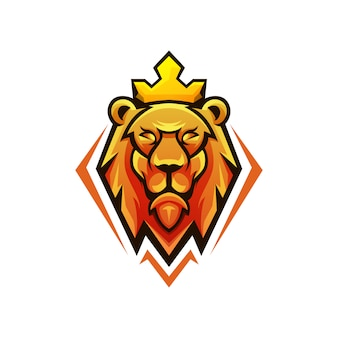 Hoofd leeuwenkoning logo ontwerp
