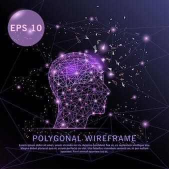 Hoofd met hersenen paars achtergrond futuristisch draadframe.