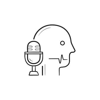 Hoofd met microfoon en spraakherkenning hand getrokken schets doodle pictogram. spraakbesturing, herkenningsconcept