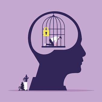 Hoofd met persoonlijke mentale val als gesloten kooi persoonlijke groei vast in comfortzone