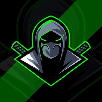 Hoofd ninja mascotte logo esport ontwerp