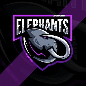 Hoofd olifant mascotte logo esport ontwerp