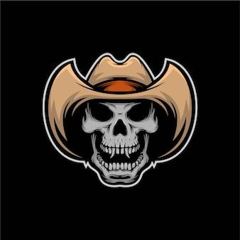 Hoofd schedel cowboy mascotte illustratie