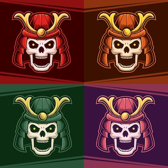 Hoofd schedel ronin set kleur mascotte esport logo vectorillustratie