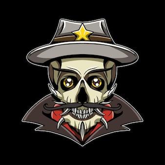 Hoofd schedel sheriff illustratie kunstwerk
