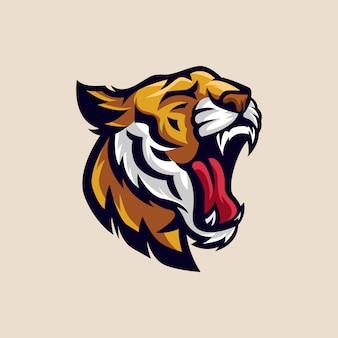 Hoofd tiger esports logo illustration