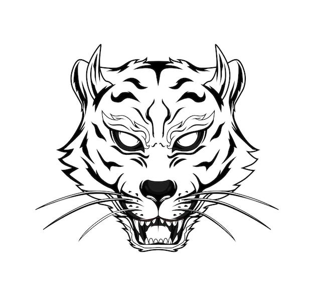Hoofd tijger zwart-wit afbeelding voor thsir