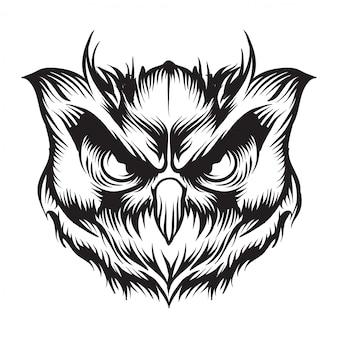 Hoofd uil vectorillustratie