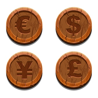 Hoofd valuta symbolen, houten munten. euro, dollar, yen, britse ponden