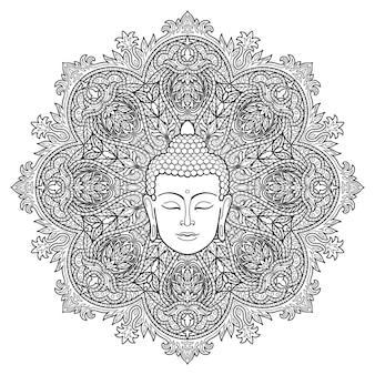 Hoofd van boeddha op bloemen ronde mandala achtergrond teken voor tattoo textiel print en amuletten
