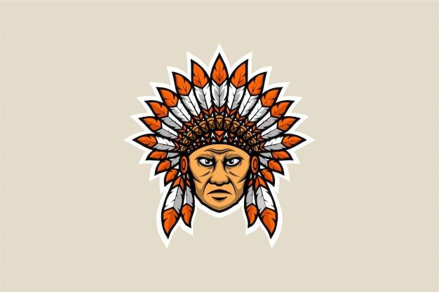 Hoofd van de amerikaanse inheemse veer