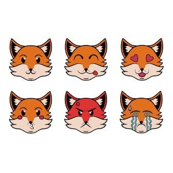 Hoofd van de emoji fox in pop-artstijl