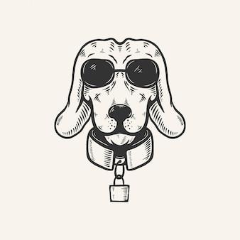 Hoofd van de hond met zonnebril vintage retro illustratie
