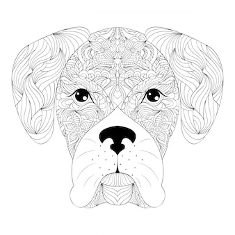 Hoofd van de hond op witte achtergrond