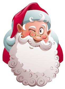 Hoofd van de kerstman knipoogt. vrolijk kerstplezier