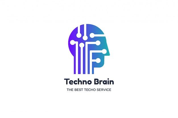 Hoofd van de man en chip techno brain multimedia logo