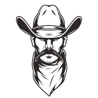 Hoofd van de man in cowboyhoed