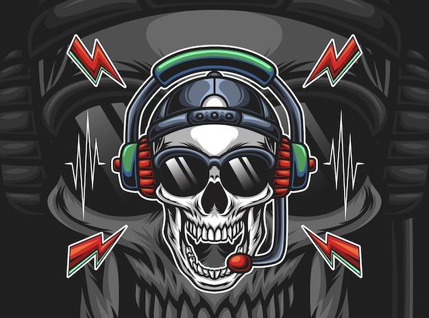 Hoofd van de schedel met oortelefoon illustratie