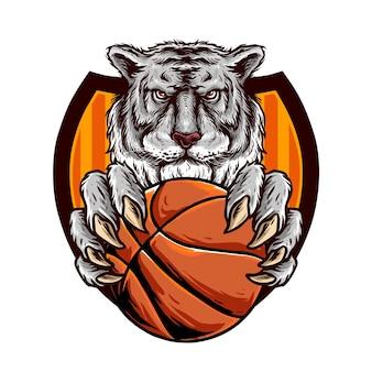 Hoofd van de tijger houdt een basketbalbal vast voor het logo van de basketbalclub club
