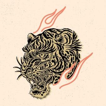 Hoofd van de tijger voor t-shirtontwerp of koopwaar