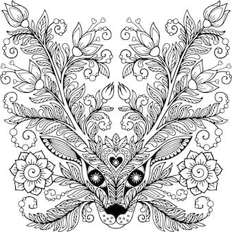 Hoofd van een hert met hoorns en bloemen doodle illustratie voor kleurboek