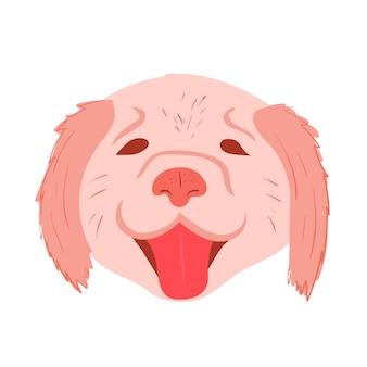 Hoofd van een hond golden retriever lachende labrador op witte achtergrond voorraad vectorillustratie