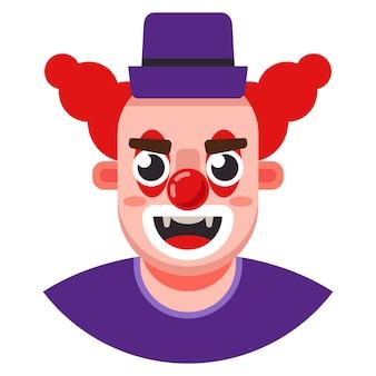Hoofd van een kwade clown in een hoed. platte karakter vectorillustratie.