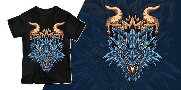 Hoofd van het ontwerp van de de illustratiet-shirt van het draakkunstwerk