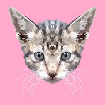 Hoofd van kitten op geometrische kunststijl