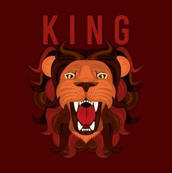 Hoofd van leeuwenkoning in het rode kleurrijke ontwerp van de pictogramillustratie