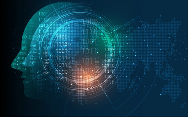 Hoofd van menselijke kunstmatige intelligentie digitale wireframe punt