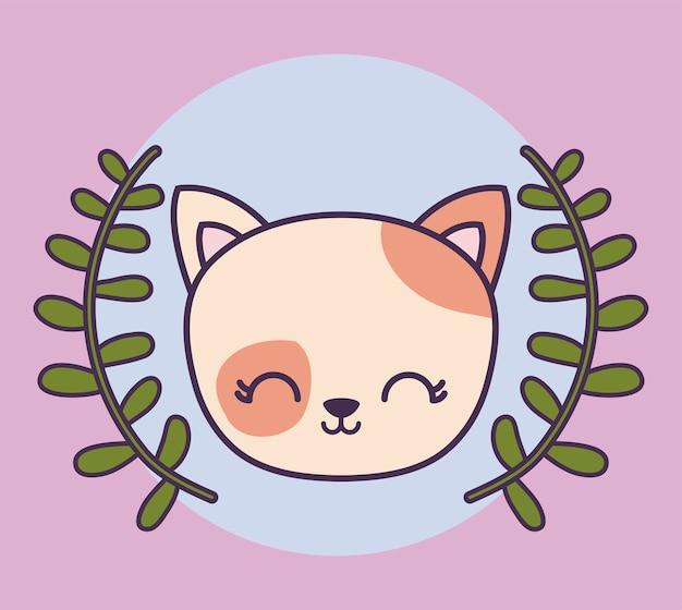 Hoofd van schattige kat dier met kroon bladeren