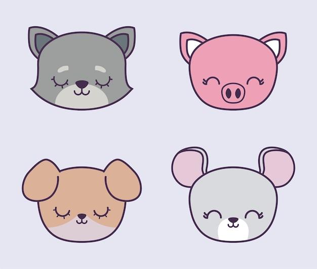 Hoofd van schattige piggy met groep dieren